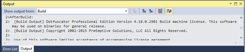 Screenshot of VS build output