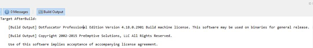 Screenshot of Xamarin build output