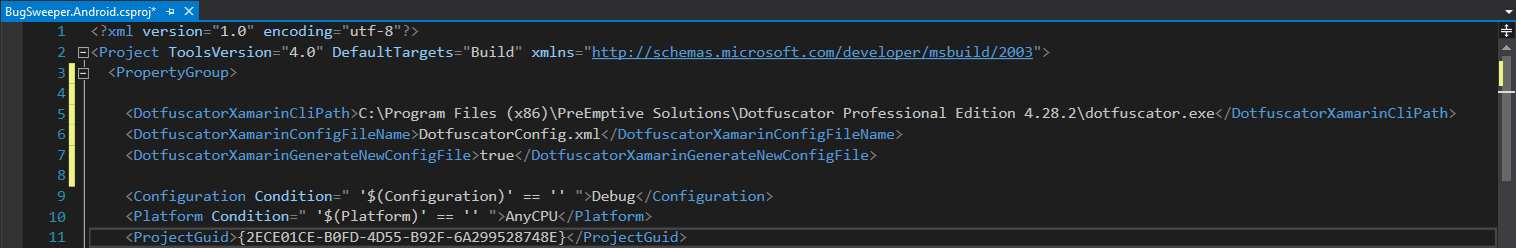 A project file with the inserted Dotfuscator-Xamarin properties