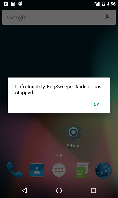 "An ""app crashed"" dialog box in an Android emulator"