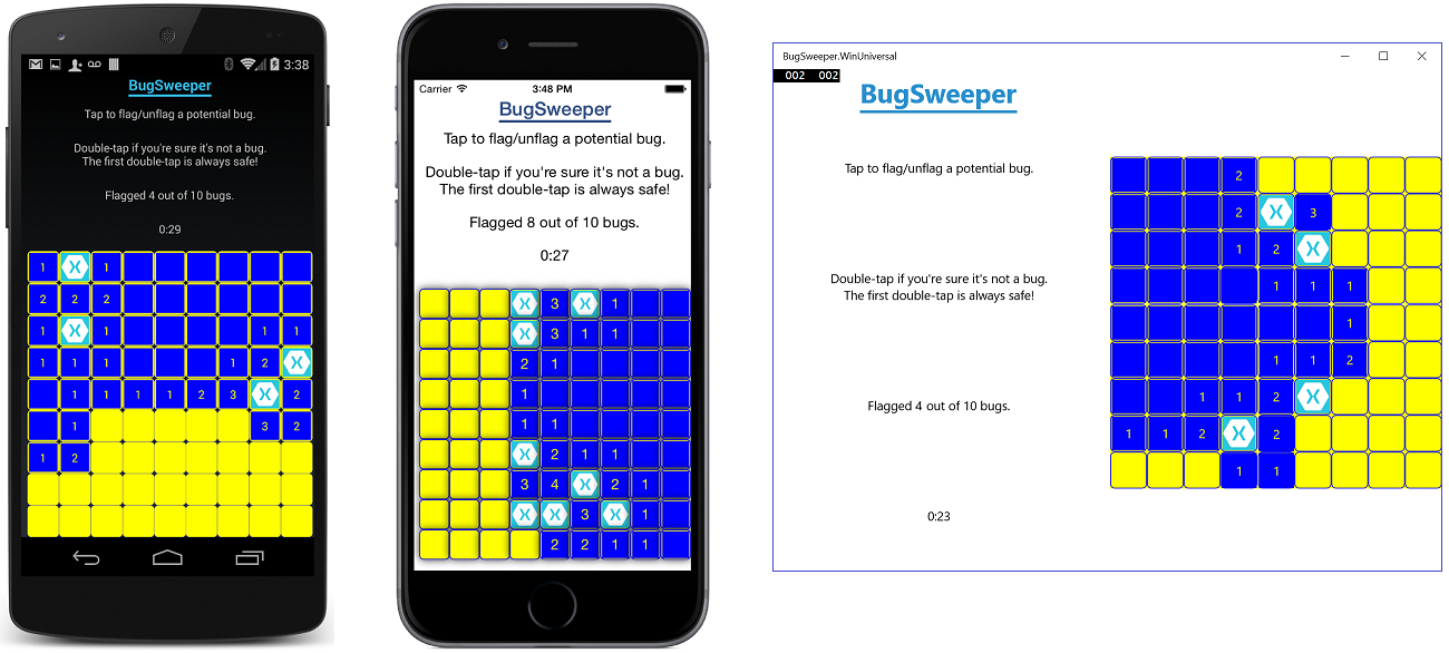 BugSweeper running on Android, iOS, and Windows