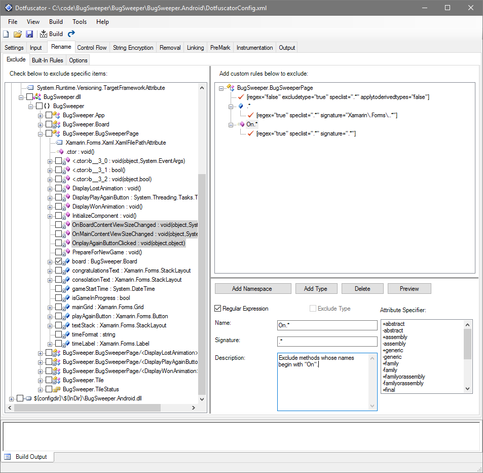 Dotfuscator showing the rule and excluded methods