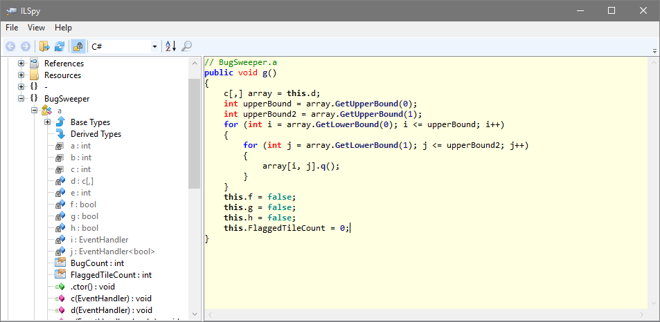 ILSpy showing protected code decompiled to C# with renamed symbols