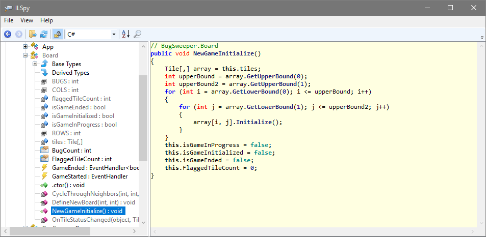 ILSpy showing unprotected code decompiled to easily-readable C#
