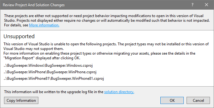 A Visual Studio warning indicating Windows 8.x projects can't be loaded